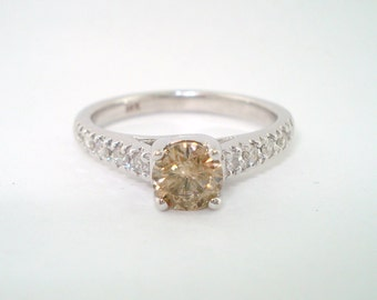 Natural Champagne & White Diamond Engagement Ring 0.82 Carat 14K White Gold Handmade Certified