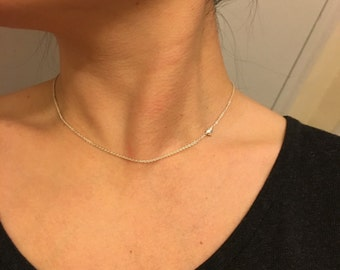 Puffed Sterling Silver Heart Choker Necklace / Anabel Nove