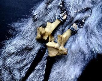 Real Animal Bone Earrings with Black Metal Spikes - Animal Bone Jewelry