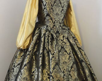 Elizabethan Renaissance gown  - gold and black complete outfit - bodice, skirt, chemise - ready to ship
