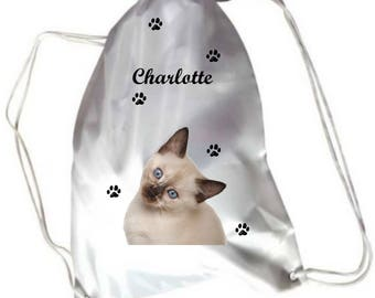 Pool Siamese kitten with name personalized gym bag