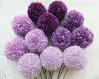 Purple Ombre Yarn Pom Pom Flowers: Set of 12