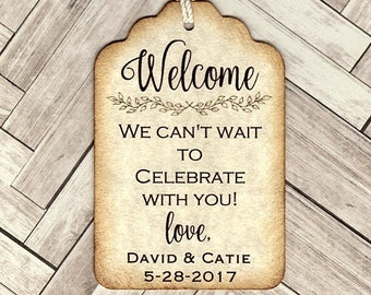 20 Welcome Bag Tags - Wedding Favor Tags- personalized custom tags
