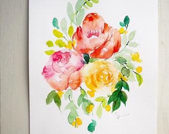 Original watercolor flowers of roses