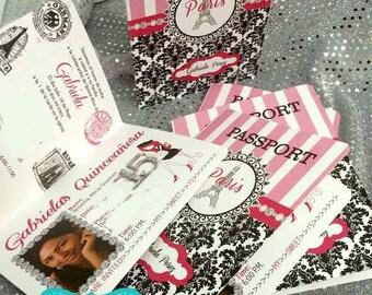 Quinceanera Paris Passport  Invitations, Sweet Fifteen Invites  Set of 30