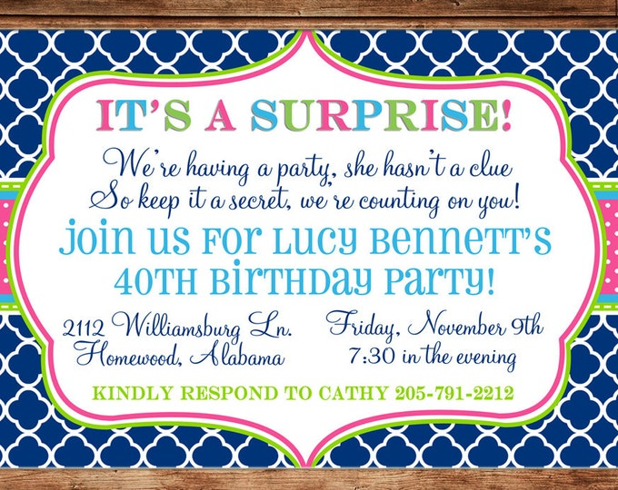 Invitation Surprise Birthday Party - Can personalize colors /wording - Printable File or Printed Cards