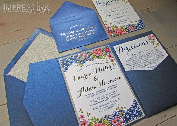 Tuscan Themed Wedding Invitations: Italian Riviera Floral Wedding Invitation Sample Flat Or