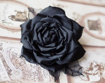 Flower Headpiece, Black Flower Clip, Black Hair Piece, Gothic Hair Accessory, Black Flower Brooch, Black Rose Hair Accessory,Black Hair Rose