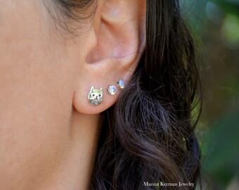 Cat Stud Earrings, Sterling Silver Cat Stud Earrings, Cat Earrings, Cat Face Earrings, Handmade Earrings