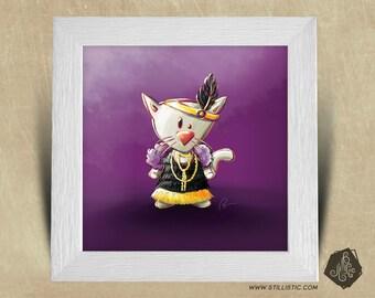 25 x 25 birth gift with Illustration cat Charleston boy room square frame