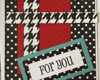 For You black and white houndstooth greeting card