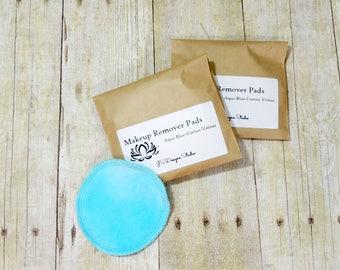 Aqua Blue Cotton Velour Makeup Remover Pads- Set of 10 - Face Scrubbie