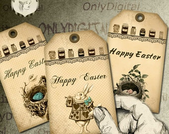 Digital download - Printable Easter tags - Easter collage sheet  (Reff.3)