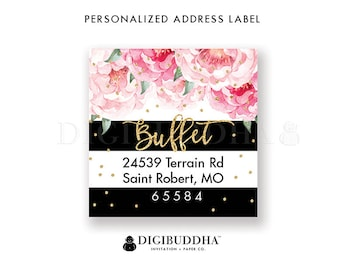 Floral Return Address Label Square Label Personalized Return Address Label Custom Return Address labels DIY labels or Printed labels- Jenn