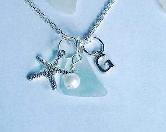 Initial Jewelry Personalized Jewelry. . Personalized  Necklace - Monogram Initial Sea Glass Necklace Seaglass Monogram Jewelry.