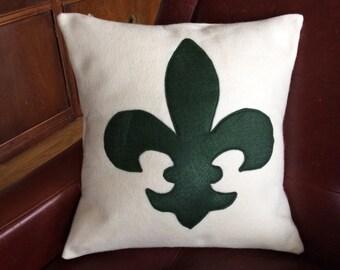 "Green Fleur de Lis Pillow Cover, 16"" Pillow Cover, Elegant Pillow Cover, Felt Cover, Home Decoration, Hostess Gift, Mother's Day Gift"