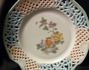 China Painted Kiln Fired Dresden Plate