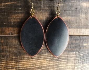Leather earrings, leather jewelry, black earrings, genuine leather earrings, dangle earrings, boho earrings, statement earrings,