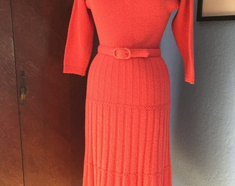 """1940s 1950s Coral Pink Wool Boucle """"Lass o'Scotland"""" Sweater Dress with Belt"""