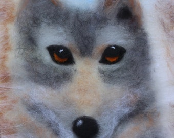 home decor, holidays gifts, wool painting, wool art, gifts, wolf