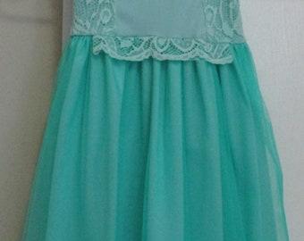 Girls Green Lace Dress