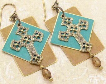 Earrings Layered with Gothic Cross and Two Tone Discs with a Western or Boho Feel