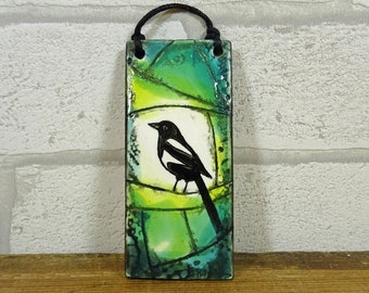 Small Magpie Hanging Tile