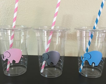 Elephant Party Cups, Elephant Baby Shower Party Cups, Elephant Birthday Party Cups, Elephant gender reveal