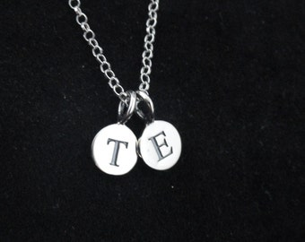 2 Initial necklace, Sterling silver initial necklace, Personalised necklace, Delicate silver necklace, Gifts