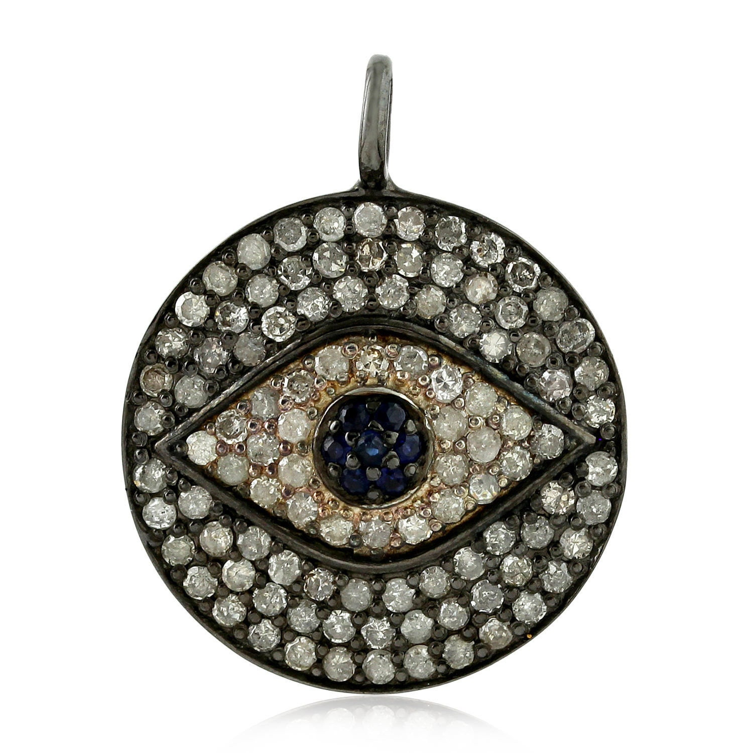 92 5 sterling silver pave setting natural diamond blue