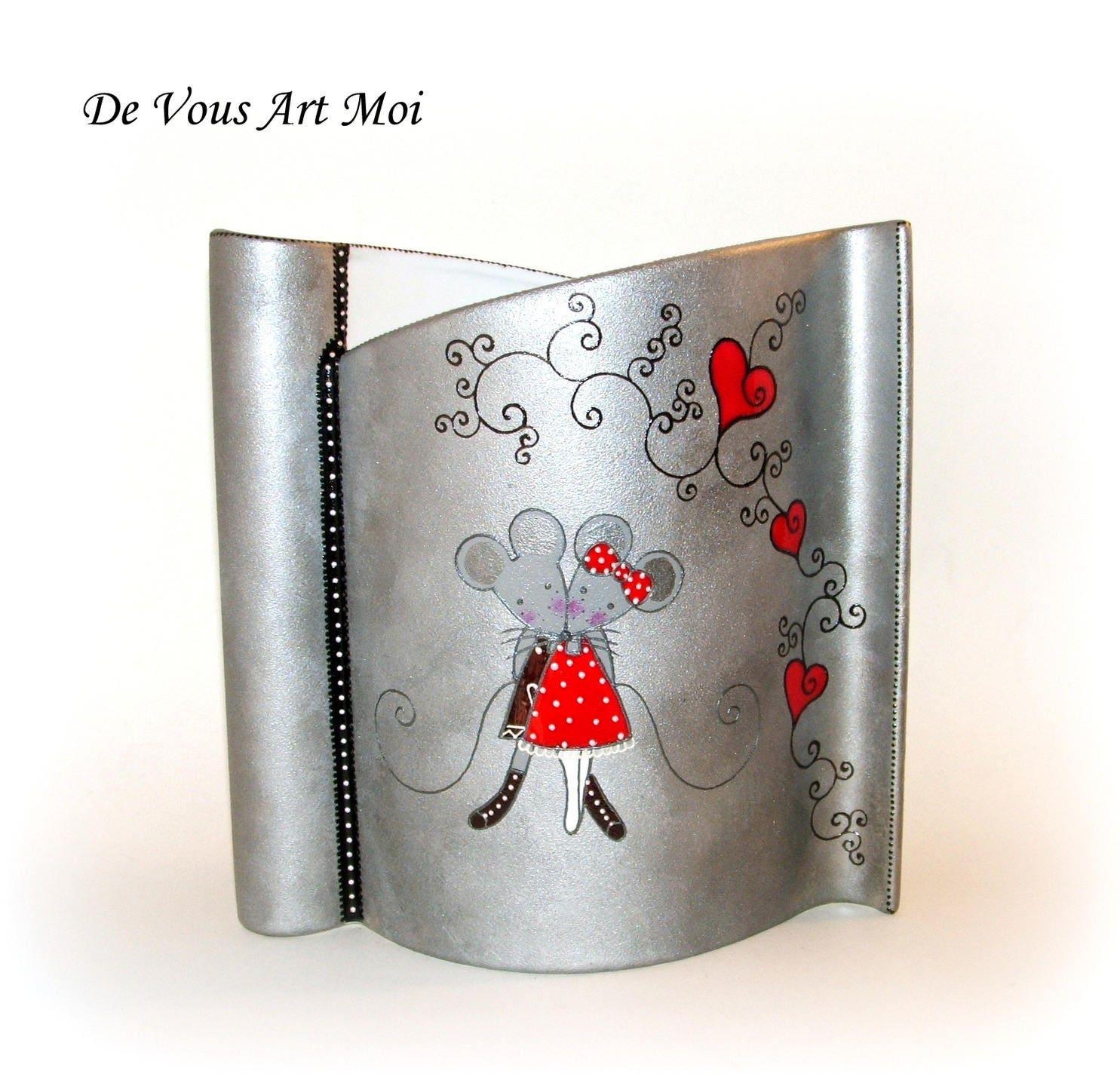 vase moderne design en porcelaine couple de souris peint la. Black Bedroom Furniture Sets. Home Design Ideas