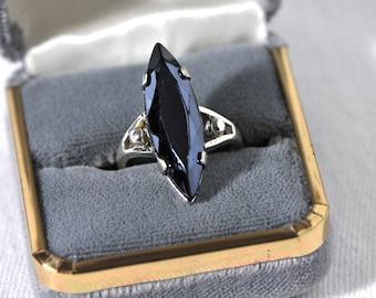 Vintage Rare Sterling Silver Marquis Hematite Ring / Size 6 Sterling Silver Ring / Long and Sleek Retro Black Hematite Ring