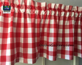 Red Check Gingham Check Buffalo Check Red White Check Kitchen Curtain Country Farmhouse Retro Valance 14 x 43 Idaho Gallery