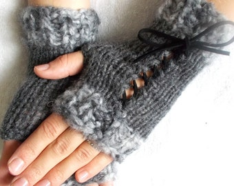 Grey  Wrist Warmers tones Knit Fingerless Corset  Gloves for Women