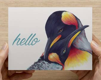"Penguins Greeting Card - Set of 20 5.5x4"" Flat Notecards with Envelopes"