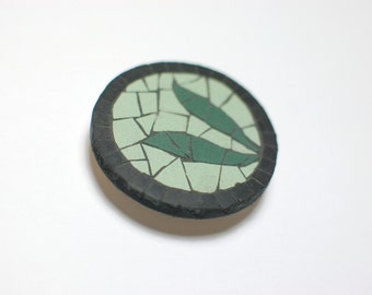 fridge magnet handmade mosaic with green and black ceramic tiles - Green Leaves