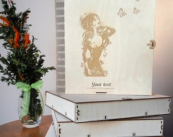 Personalised wooden box. Box of plywood for wedding photos. Gift box