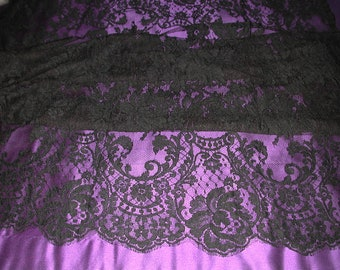 "No. 300 Black French Solstiss Chantilly Lace, Dbl Scallop, 56"" x 6 Yards"