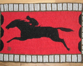 In The Stretch, Primitive Hand Hooked Rug