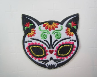 Colourful Sugar Skull Cat Patch  - Day of the Dead Cat -  Iron on Patch