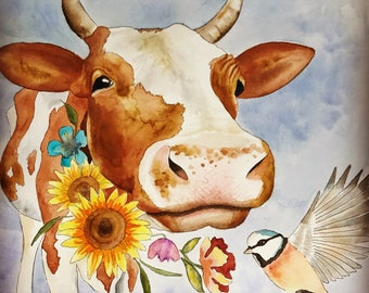 Cow pen and watercolor painting print