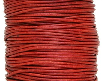 Round Leather Cord 1.5 mm Diameter Natural Red Color 50 Meter Spool