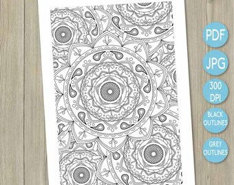 Printable colouring Mandala printable adult colouring in adult coloring book coloring book Indian inspired art therapy colouring pattern