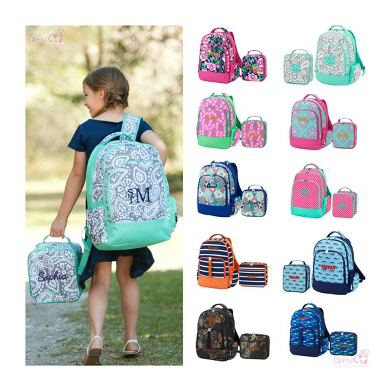 Monogrammed Matching Backpack Amp Lunchbox Set Girls Boys Kids