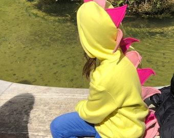 Girl Dinosaur Outfit, Dinosaur Costume, Dinosaur Kids Hoodie, Dinosaur Birthday Party, Baby Shower Gift, Yellow Dinosaur Hoodie