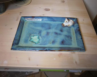 To order - small serving platter in sandstone with cat