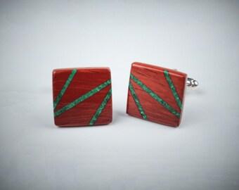 Wooden cufflinks, padouk wood cufflinks for men, malachite inlay, designer classic cufflinks, cufflinks shirts, gift fot men
