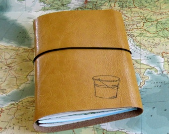 bucket list journal with maps a travel journal - yellow faux leather journal retirement gift by tremundo