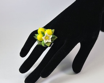 Lemon Ring - Floral ring - Polymer clay jewelry  - Handmade ring with lemon - Ring with lemons - big ring
