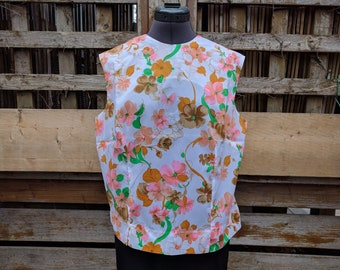 Vintage 1950s or 60s White With Pink and Orange Flowers Sleeveless Summer Blouse